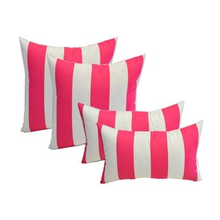 Pink & White Striped Pillows - Set of 4