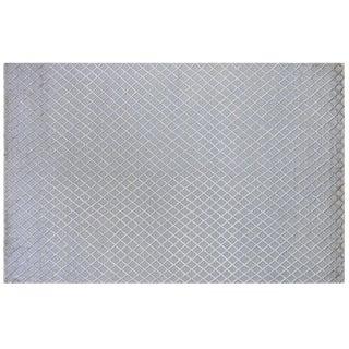 Silver Grey Wool & Silk Trellis Rug - 6' X 9'