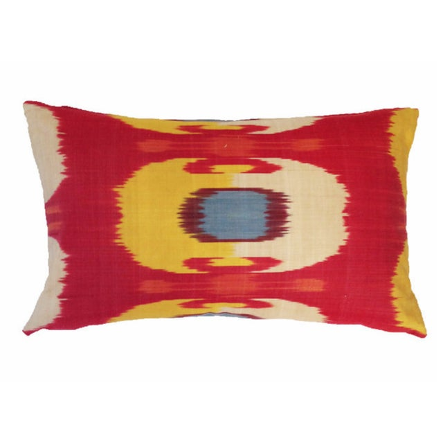 Image of Red and Yellow Ikat Pillow Cover