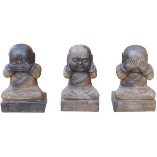 Chinese Oriental Lohons Stone Figures Do No Evil - Set of 3
