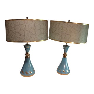 Mid-Century Turquoise Blue Table Lamps - A Pair