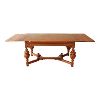 Antique Spanish Revival Carved Oak Refectory Extension Dining Table