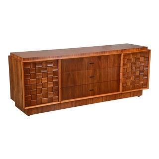 Large Walnut Brutalist Dresser