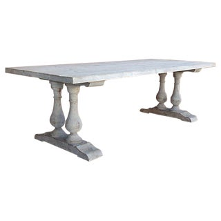 Neoclassical Library Table with Whitewash Finish