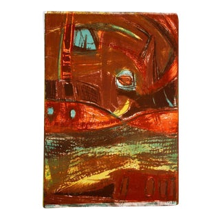 Mid Century Lithograph in Warm Tones