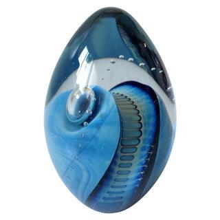 Eickholt Blue Swirl Art Glass Paperweight