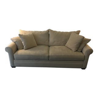 Beige Suede 2-Seater Sofa With Throw Pillows