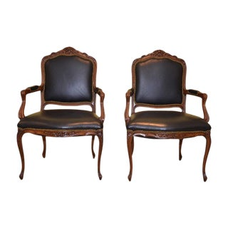 Louis XV Style Leather Occasional Chairs - A Pair