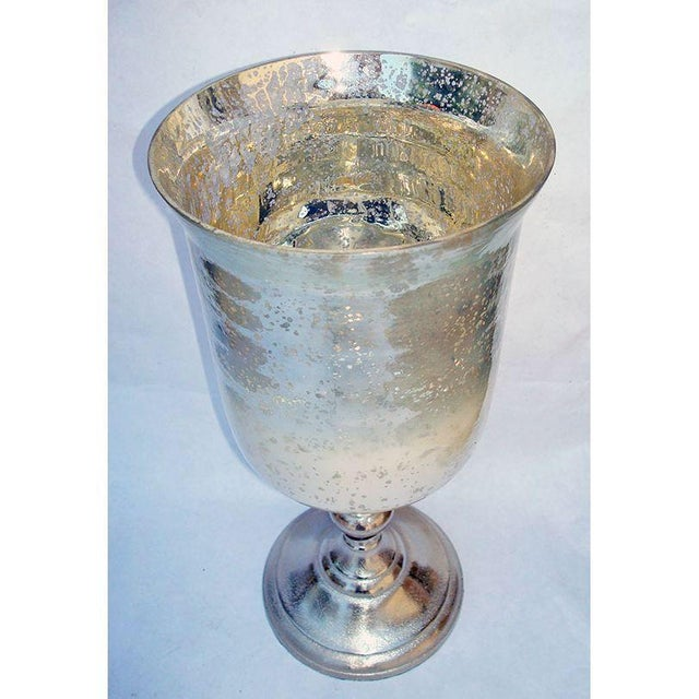 Large Mercury Glass Hurricane Candle Holder - Image 3 of 4