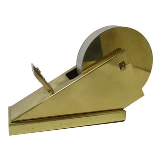 Vintage Mid Century Modernist Architectural Sculptural Brass Tape Dispenser Tape Holder