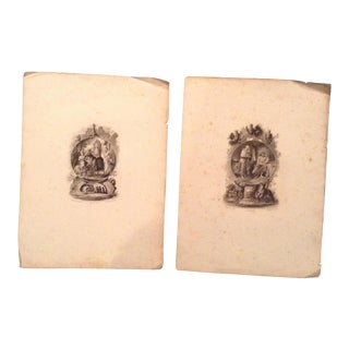 Antique French Religious Theme Prints - A Pair