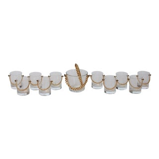 Stylish Modern Glassware Set with Brass Chain