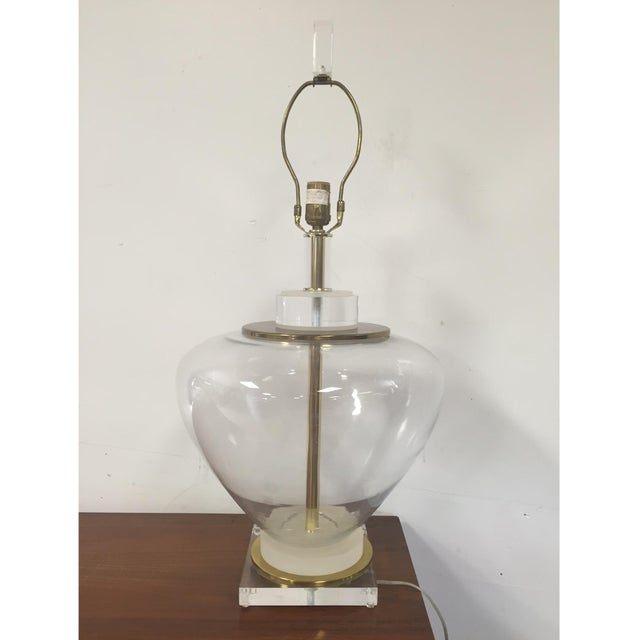 Image of Lucite, Glass, and Brass Table Lamp
