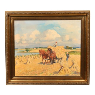 Hay Gathering Oil on Canvas Painting