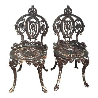 Antique Iron Patio Chairs - A Pair