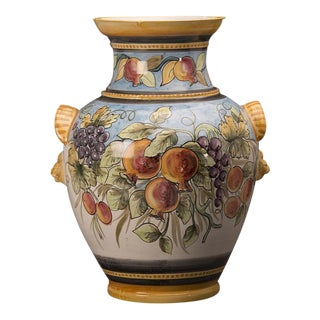 Vintage Italian Hand Painted Terra Cotta Vase