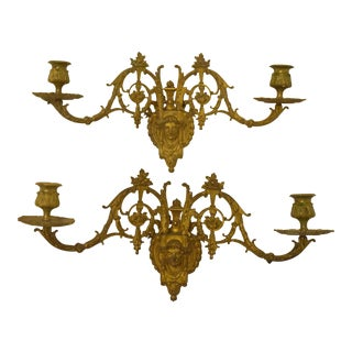 19th-Century French Gilt Brass Scounces-Pair