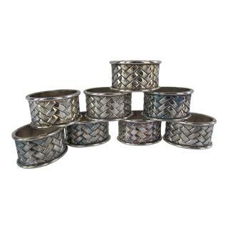 Silverplate Basketweave Napkin Rings- 8 Pieces