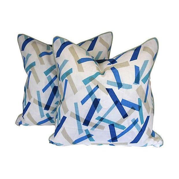 Blue and White Linen Pillows II - Pair - Image 2 of 6