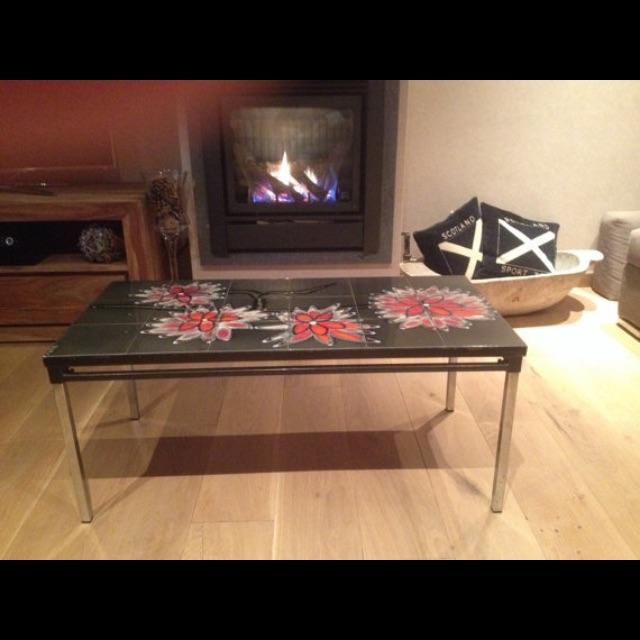 Vintage 1960s Belgian Tiled & Chrome Coffee Table - Image 5 of 6