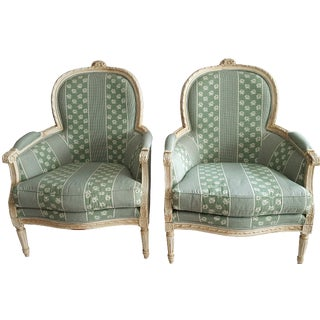 Louis XV Style Bergere Chairs - Pair