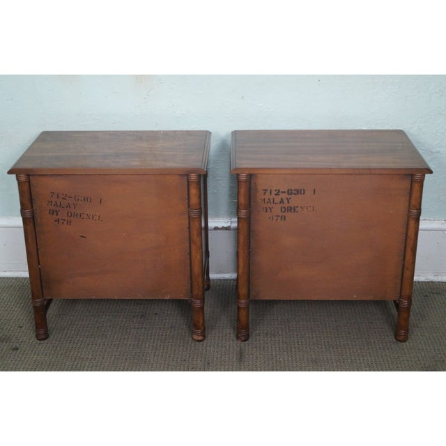 Drexel Heritage Faux Bamboo Nightstands - A Pair - Image 4 of 10