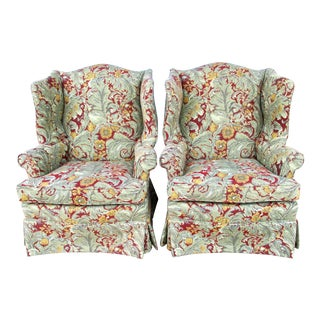Wingback Chairs in William Morris Style - A Pair