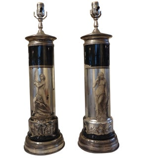 Italian Reverse Decorated Table Lamps - A Pair