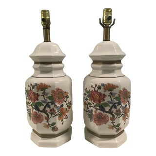 Hand-Painted Chinoiserie Lamps - A Pair