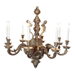 Ornate 19th Century French 8-Light Bronze Chandelier with Cherubs and Faces