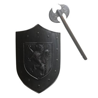 Vintage Lion-Crested Shield & Axe