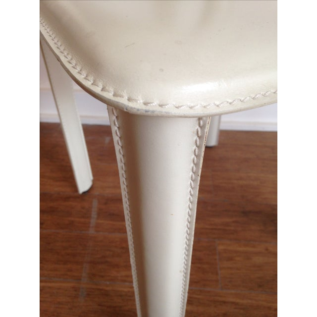 DWR White Leather Chairs - A Pair - Image 7 of 7
