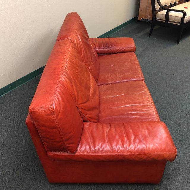 Roche Bobois Vintage Red Leather Sofa - Image 3 of 10