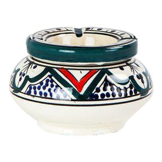 Moroccan Small Hand Painted Ceramic Lidded Ashtray