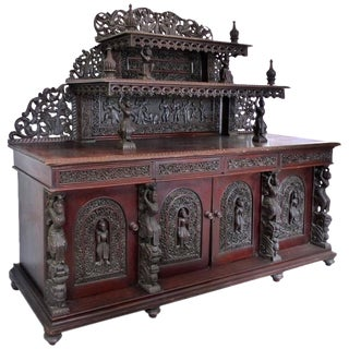 19th Century Burmese Over-Scale Carved Rosewood Anglo-Indian Sideboard