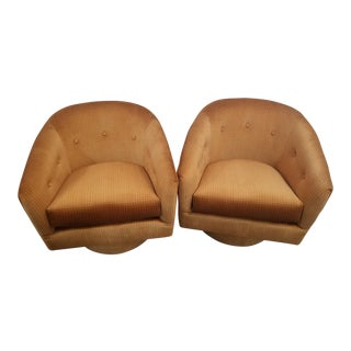 Milo Baughman Style Button Back Swivel Side Chairs - A Pair