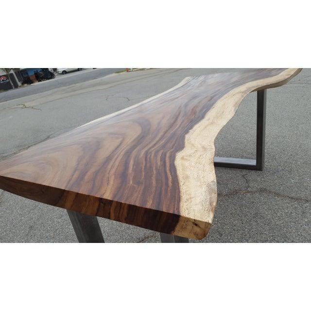 Solid Slab Acacia Live Edge Wood Table - Image 5 of 9