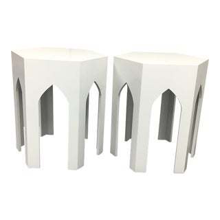 Moroccan White Side Tables - A Pair