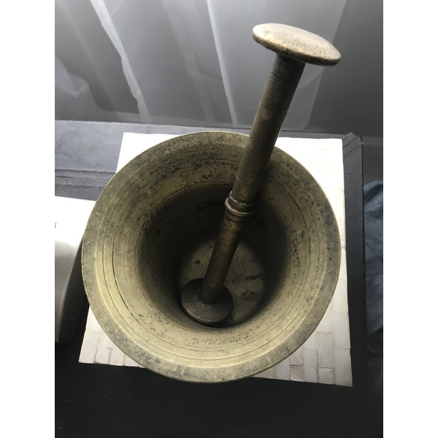 Vintage Early 1900's Hand Hammered European Brass Pestle and Mortar - Image 2 of 4