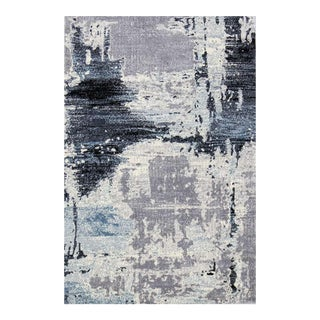 Abstract Rug in Blue & Gray - 5′ × 7′7″