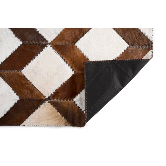"Square Chevron Cowhide Patchwork Area Rug - 5'5"" x 7'11"" - Image 7 of 8"