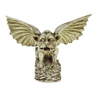 Vintage Gothic Grotesque Gargoyle Winged Dog Statue