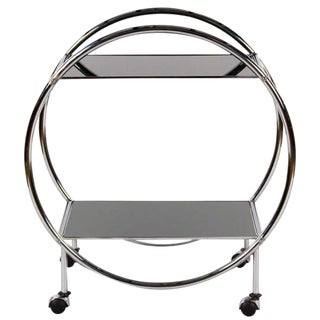 1970s Vintage Italian Chrome & Glass Bar Cart