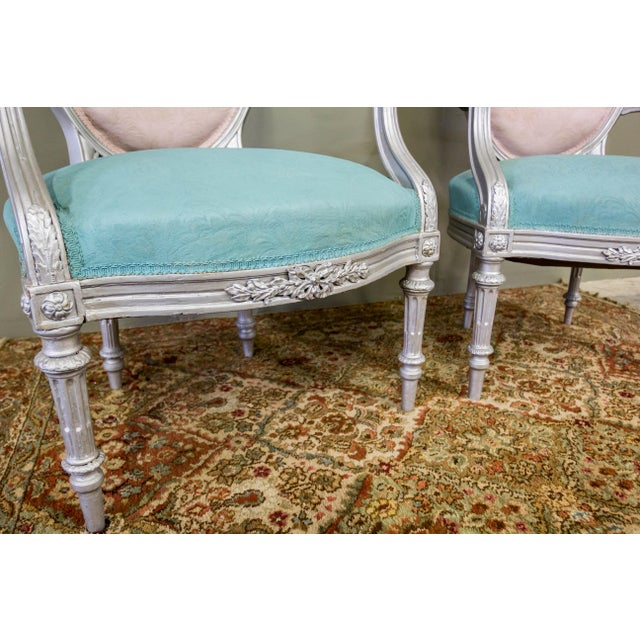 Artist Repainted Pastel Fauteuil Chairs- A Pair - Image 5 of 7