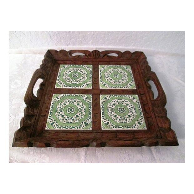 Mexican Carved Wood Green Tile Tray - Image 2 of 5