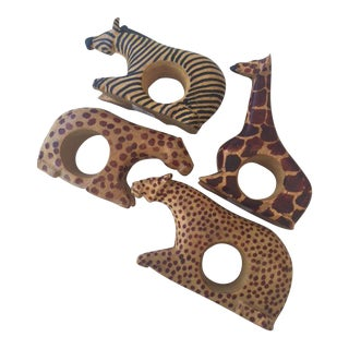 Wood African Animal Napkin Rings - Set of 4