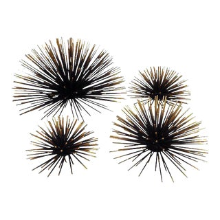 Gold & Black Metal Wall Sea Urchins - Set of 4