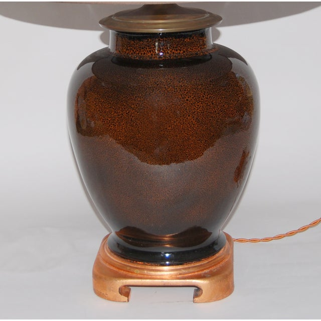 Tortoise Glaze Lamp W/Hand Painted Lampshade - Image 4 of 5