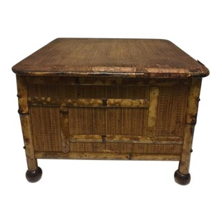 Late 1800s Tortoise Bamboo Foot Stool/Storage Chest