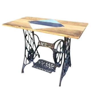 Repurposed Geometric Pattern Sewing Machine Table